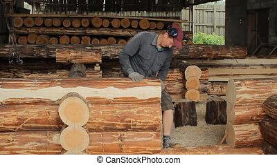 travaux, met, faisceau bois, construction, avenir, home., structure, homme