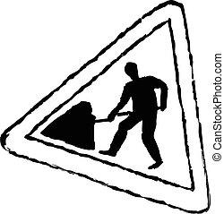 travaux, panneaux signalisations