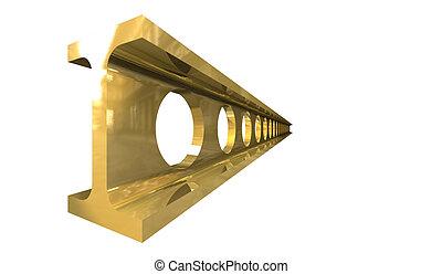 trave acciaio, oro, -, isolato, fondo, bianco, 3d
