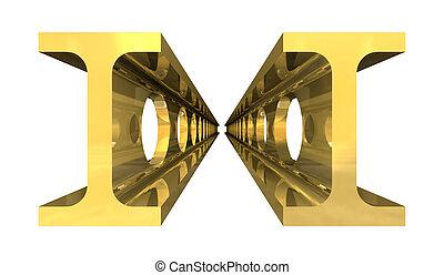 trave acciaio, oro, -, isolato, fondo, bianco, capple, 3d