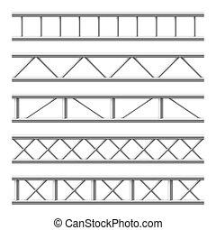 trave acciaio, set, structure., metallo, seamless, isolato,...