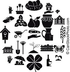 trave, icone, set, semplice, stile