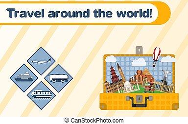 travel., のまわり, 世界, 観光事業, スーツケース