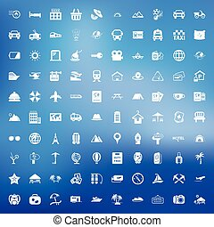 travel 100 icons set for web flat