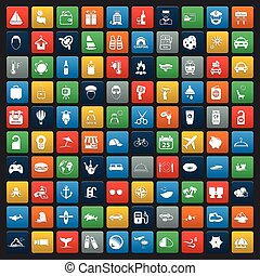 travel 100 icons set for web