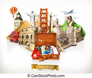 Travel, 3d vector illustration