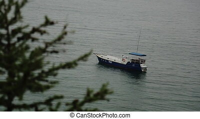 Travel a boat white blue for relaxing on in the sea near the shore. worth waiting for tourists for a guided tour, rocking gently on the calm still water in the Gulf