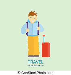 Travel. A man stands near the airport