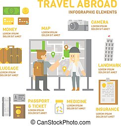 Travel abroad infographic flat design