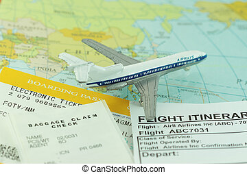 Travel abstract with flight itinerary - Travel abstract trip...