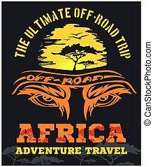 Travel Africa - extreme off-road vector emblem.