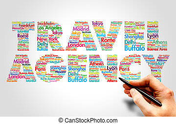 TRAVEL AGENCY, cities names word cloud travel concept