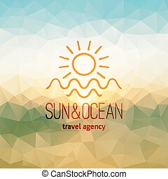 Travel Agency Logo On Polygon Seascape Background Sun And Clip