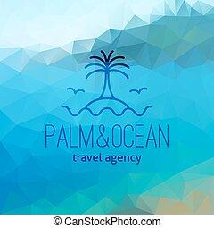 Travel Agency Logo On Polygon Seascape Background