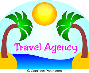 Travel Agency logo with sunset at the beach