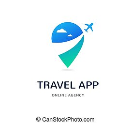 Travel agency, tourism app and trips logo, adventure tours, icon and element
