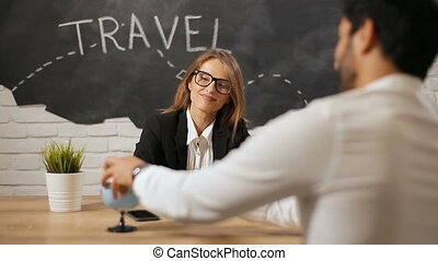 Travel Agent Has Meeting with Client - Smiling bright travel...