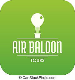 Travel air balloon icon green vector