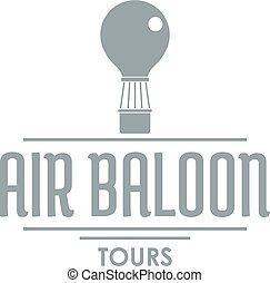 Travel air balloon logo, simple gray style