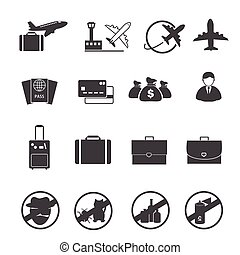 Travel, Air transportation icons