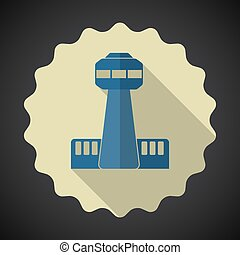 Travel Airport Control Room Tower Flat icon vector background