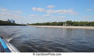 Travel along river bank in Moscow - View from the boat to...