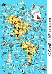 Travel America Great Maze Game. Find the right way home for polar bear! Solution in hidden layer.