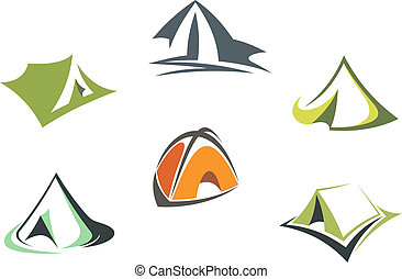 Travel and adventure camp tents set isolated on white...