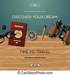 Travel and adventure template, discover your dream, banner ...