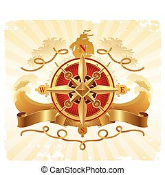 Travel and adventures vintage vector emblem with golden compass rose