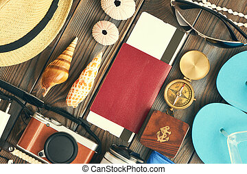 Travel and beach flat lay - Travel and beach items flat lay...