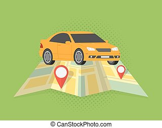 Travel and driving car concept. Vector illustration