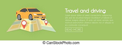 Travel and driving car concept. Vector illustration. Web banner template