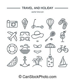 Travel and holiday icon set.