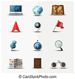 Travel And Journey Navigator Icon Set Design Template