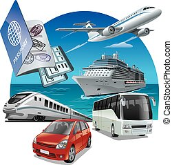 travel and journey transport - concept illustration of...