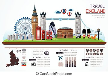 travel and landmark england vector - Info graphics travel...