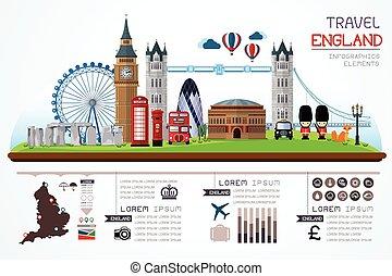 travel and landmark england vector - Info graphics travel ...