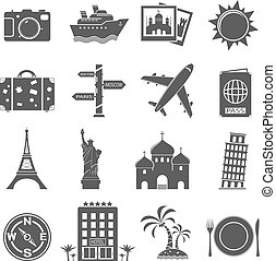 Travel and landmarks icons set