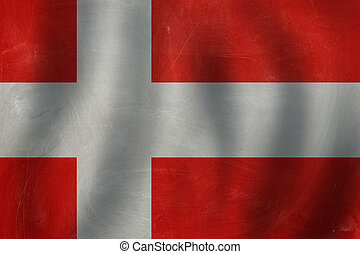 Travel and learn danish language concept with Denmark flag background