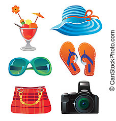 Travel and summer icon set on white