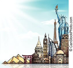 Travel and Tourism Background with Famous World Landmarks in...