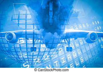 Travel and tourism collage with airplane