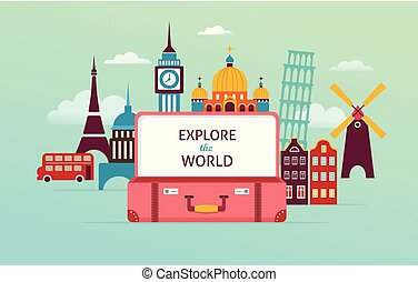 Travel and tourism concept design with open suitcase. Vector illustration