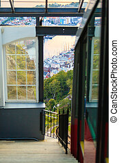 Funicular Railway in Bergen, Norway, climbing Mount Floyen.