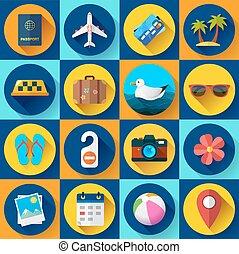 Travel and tourism icon set. Flat designed style