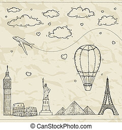 Travel and tourism background. Vector hand drawn illustration.