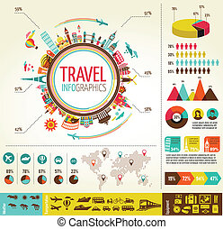 Travel and tourism infographics with data icons, elements -...