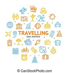 Travel and Tourism Round Design Template Line Icon Concept. Vector
