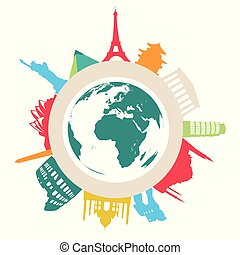 Travel and tourism vector background